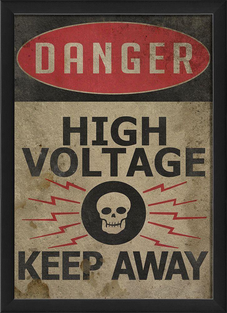 Danger High Voltage Framed Textual Art In 2020 High Voltage Dangerous Artwork