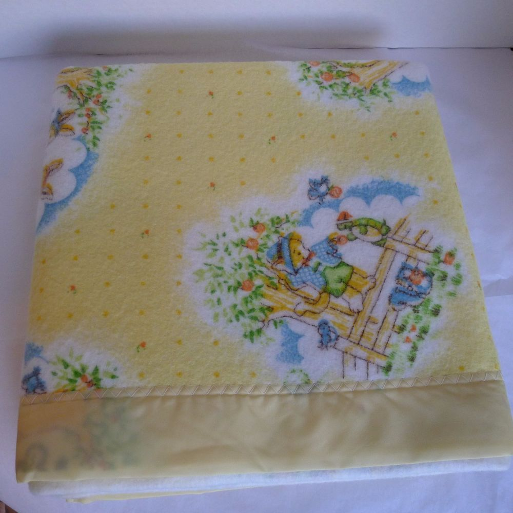 f920a7d78c Baby Blanket Enchanted Forest Bunny Esmond Yellow 100% Polyester Canada  Vintage