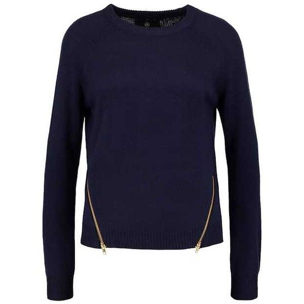 Missguided Jumper navy (45 CAD) ❤ liked on Polyvore featuring tops, sweaters, blue top, blue jumper, navy blue sweater, navy jumper and blue sweater