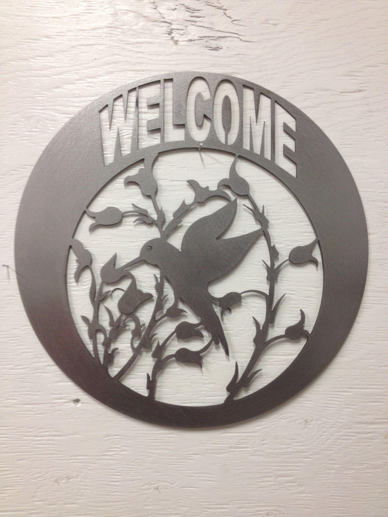 Metal Hummingbird Welcome Sign Etsy Custom Metal Art Metal Tree Wall Art Metal Tree