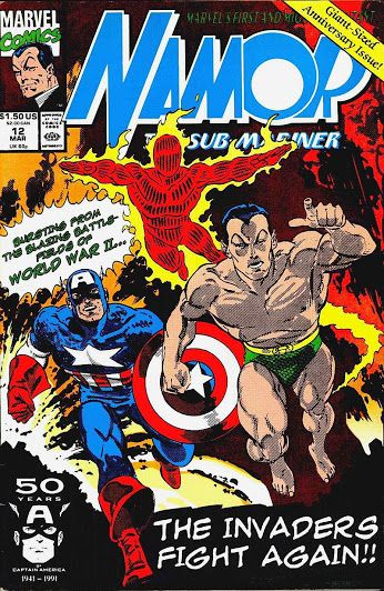 Namor, the Sub-Mariner #12 (Mar '91) cover by John Byrne. #HumanTorch #CaptainAmerica #Invaders