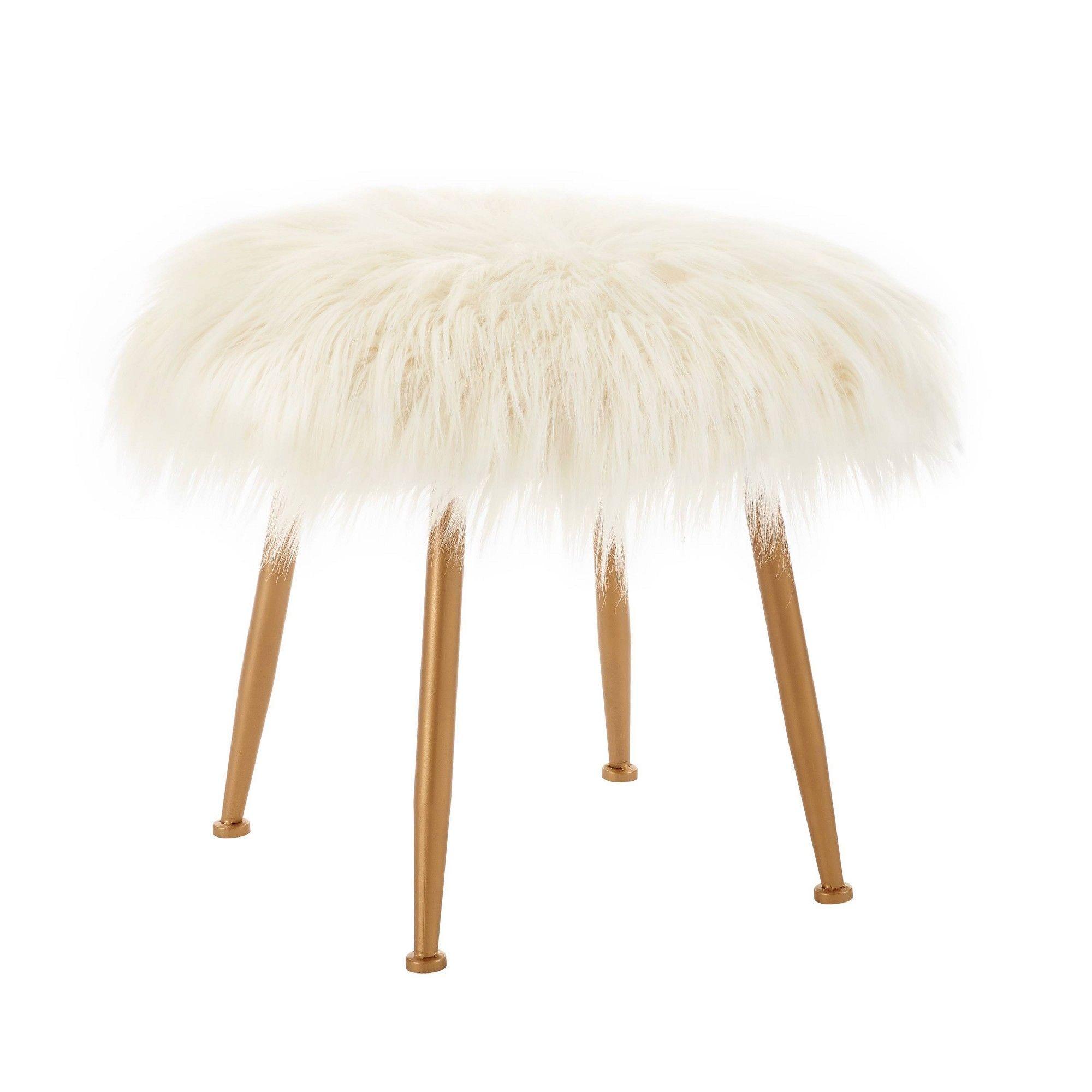 Arlo Faux Fur Stool White Linon Faux fur stool, Fur