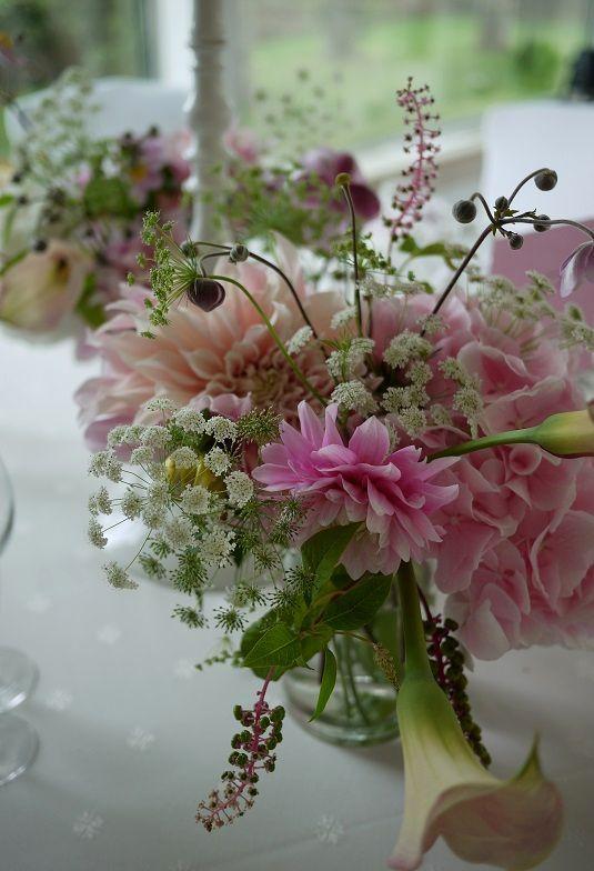 Centre de table bouquet hortensia astile pastel rose et