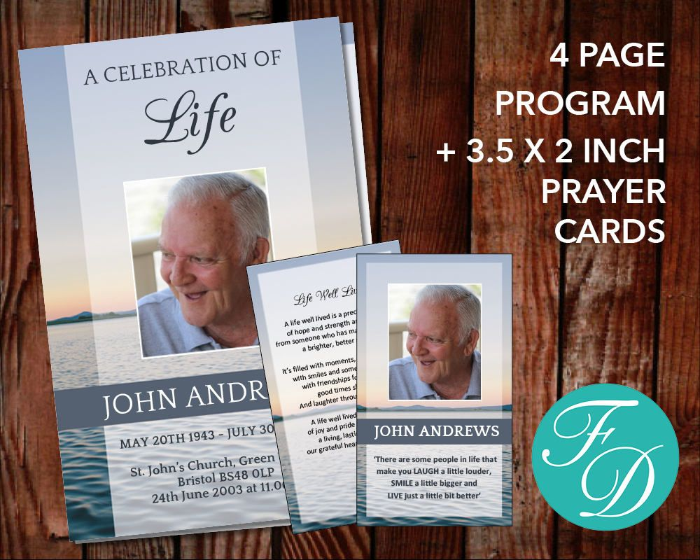 Funeral Program Template Set   Page Program Plus Prayer Card