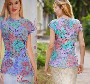 Irish lace top pattern,detailed tutorial,irish lace blouse,summer top pattern,woman top pattern,irish lace motifs,crochet lacy top pattern #crochetelements