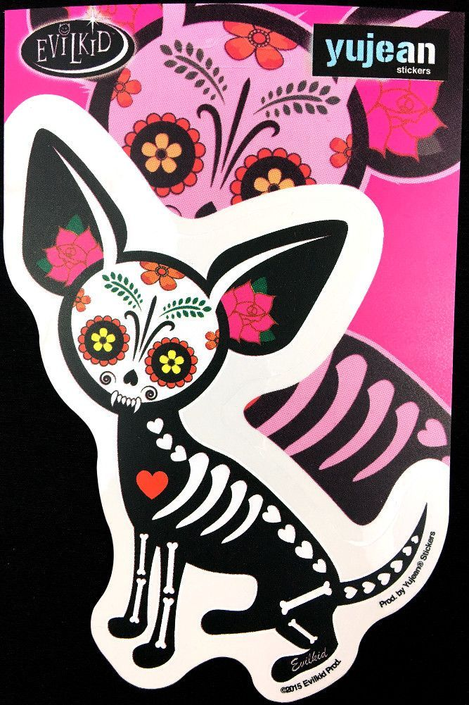 57f239b1 Celebrate Dia de los Muertos (the Mexican Day of the Dead) every day on  your car, laptop, skateboard, bike or anywhere! The Chihuahua skeleton dog  designed ...