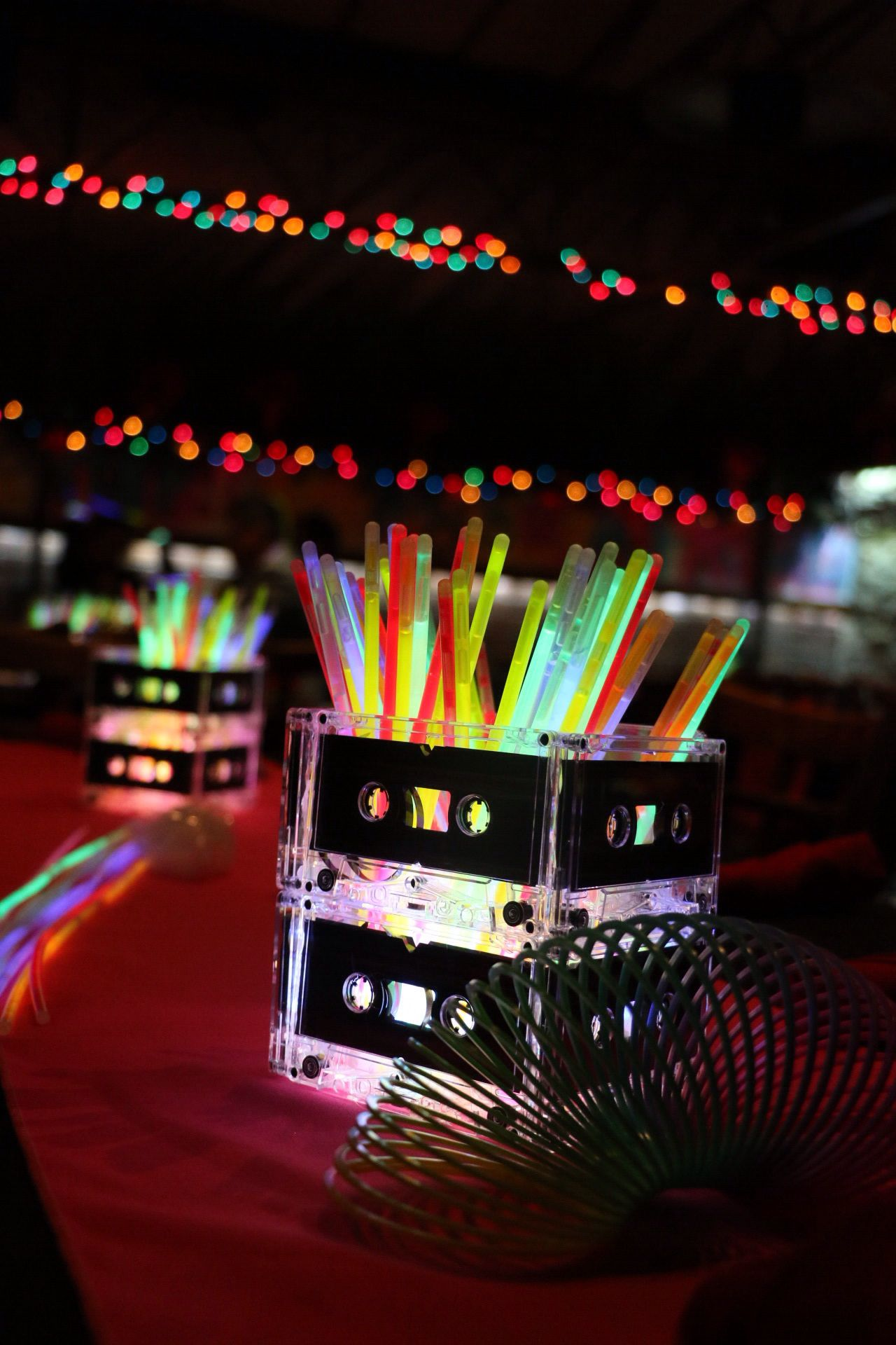 80s centerpieces glow sticks and cassette tapes mimi 39 s for 80 party decoration ideas