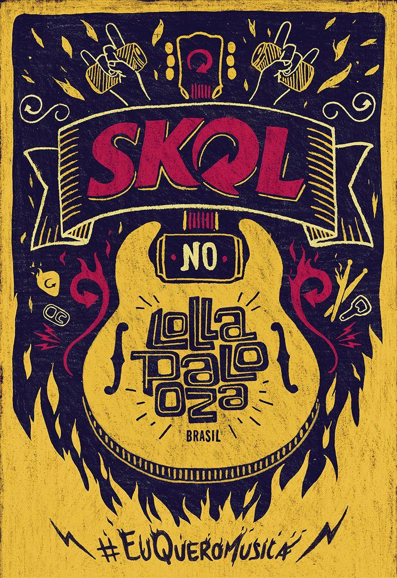 Poster design handmade - Handmade Poster Skol No Lollapalooza Brasil 2014 Euqueromusica Por Fabiano Higashi Mario