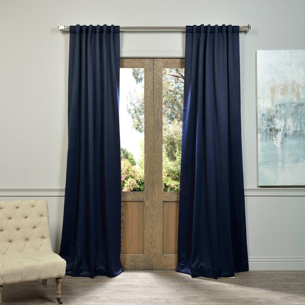 Exclusive Fabrics Furnishings Semi Opaque Navy Blue Blackout