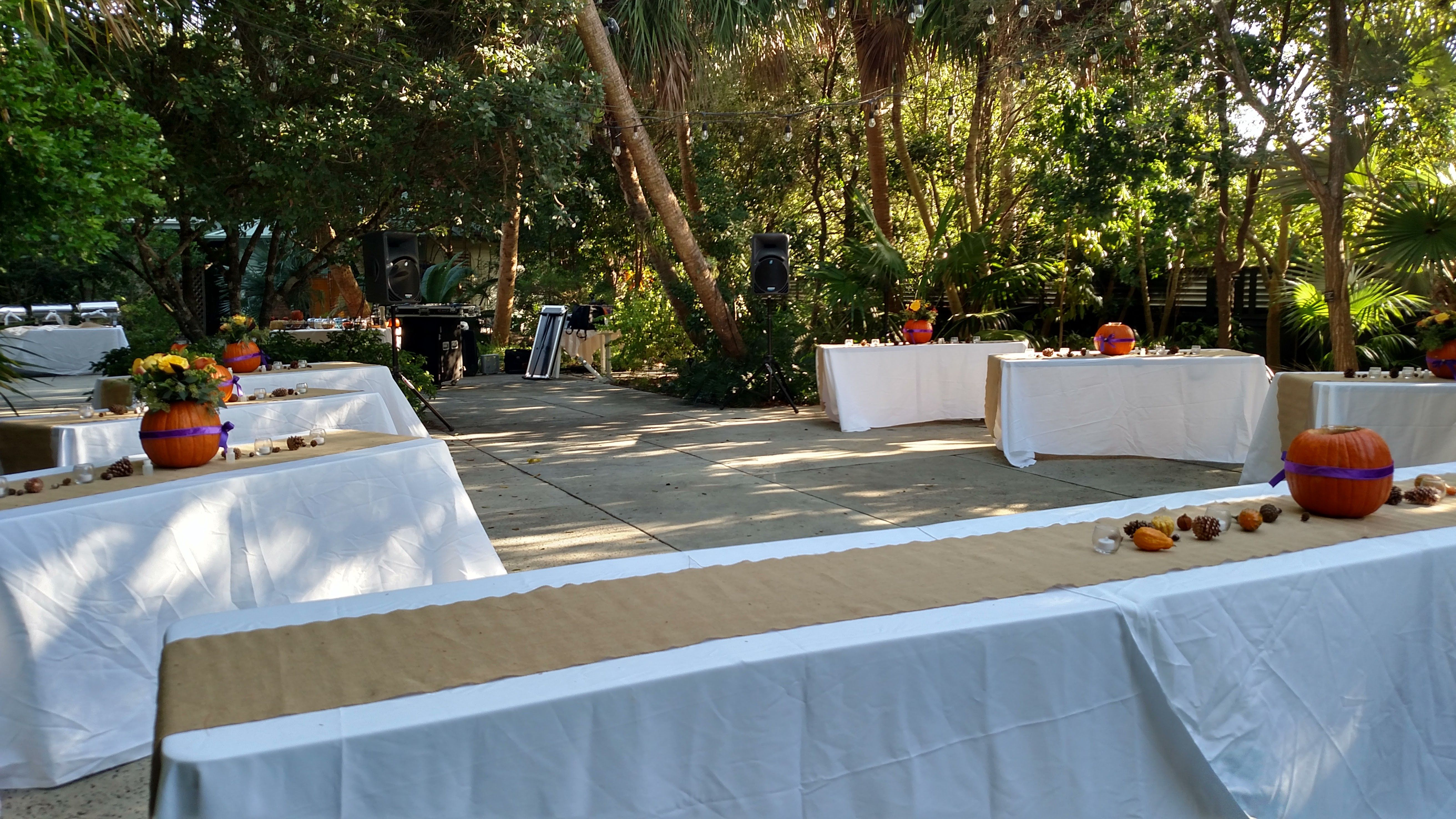 Courtyard Layout With Fall Themed Wedding At The Key West Tropical Forest Botanical Garden Tropicalgardenwedding