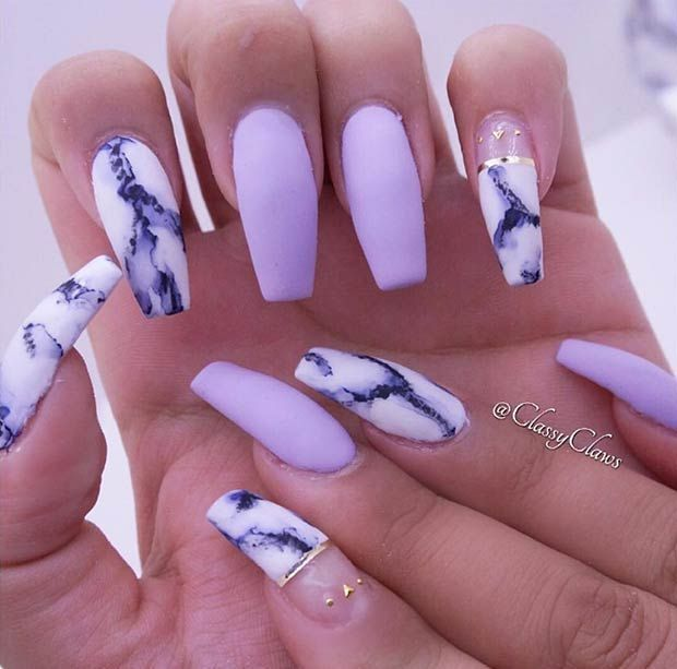 25 Cool Matte Nail Designs to Copy in 2017 | Marble nail art, Coffin ...