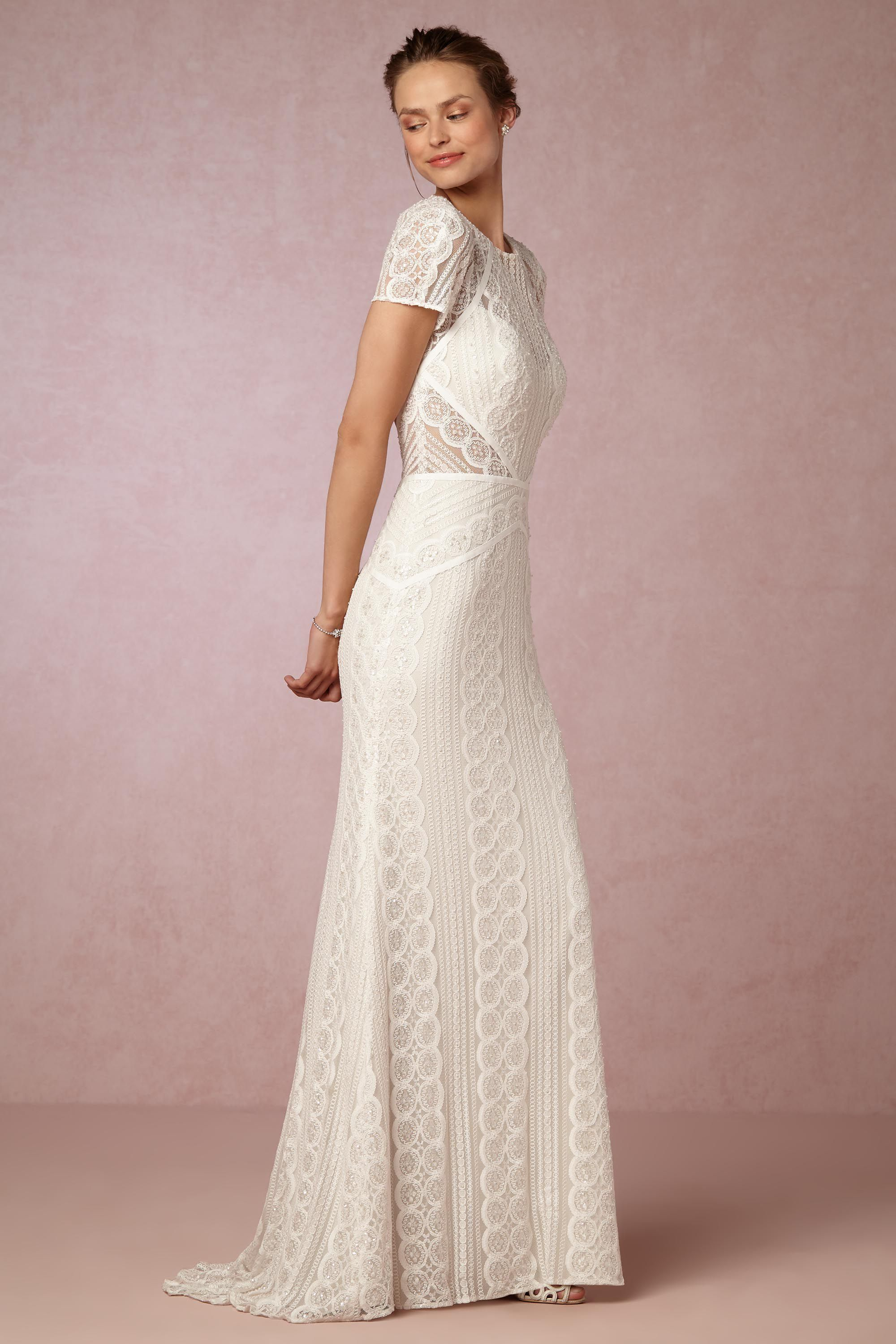 Simple white wedding dresses  BHLDNus Watters Monica Gown in Ivoryoyster  Wedding  Pinterest