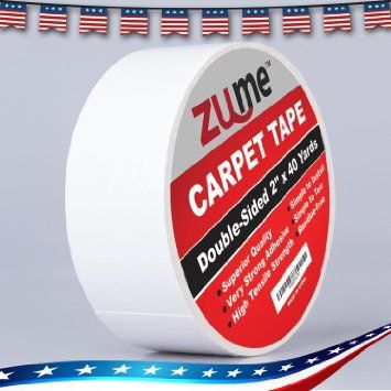 Double Sided Carpet Tape By Zume 2 X40 Yards Indoor Adhesive Carpet Edge Binding Tape Removable Carpet Mat Rug Tape Hea Carpet Tape Rug Tape Rug Binding