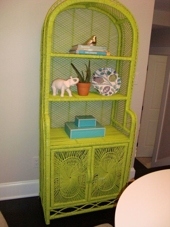 painted furniture wicker shelf in zany green diy. Black Bedroom Furniture Sets. Home Design Ideas