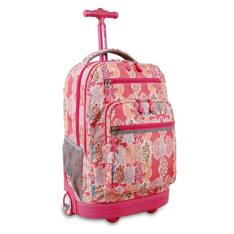 J World Sundance 19.5 in. Laptop Rolling Backpack Pink Forest - RBS-19 PINK FOREST
