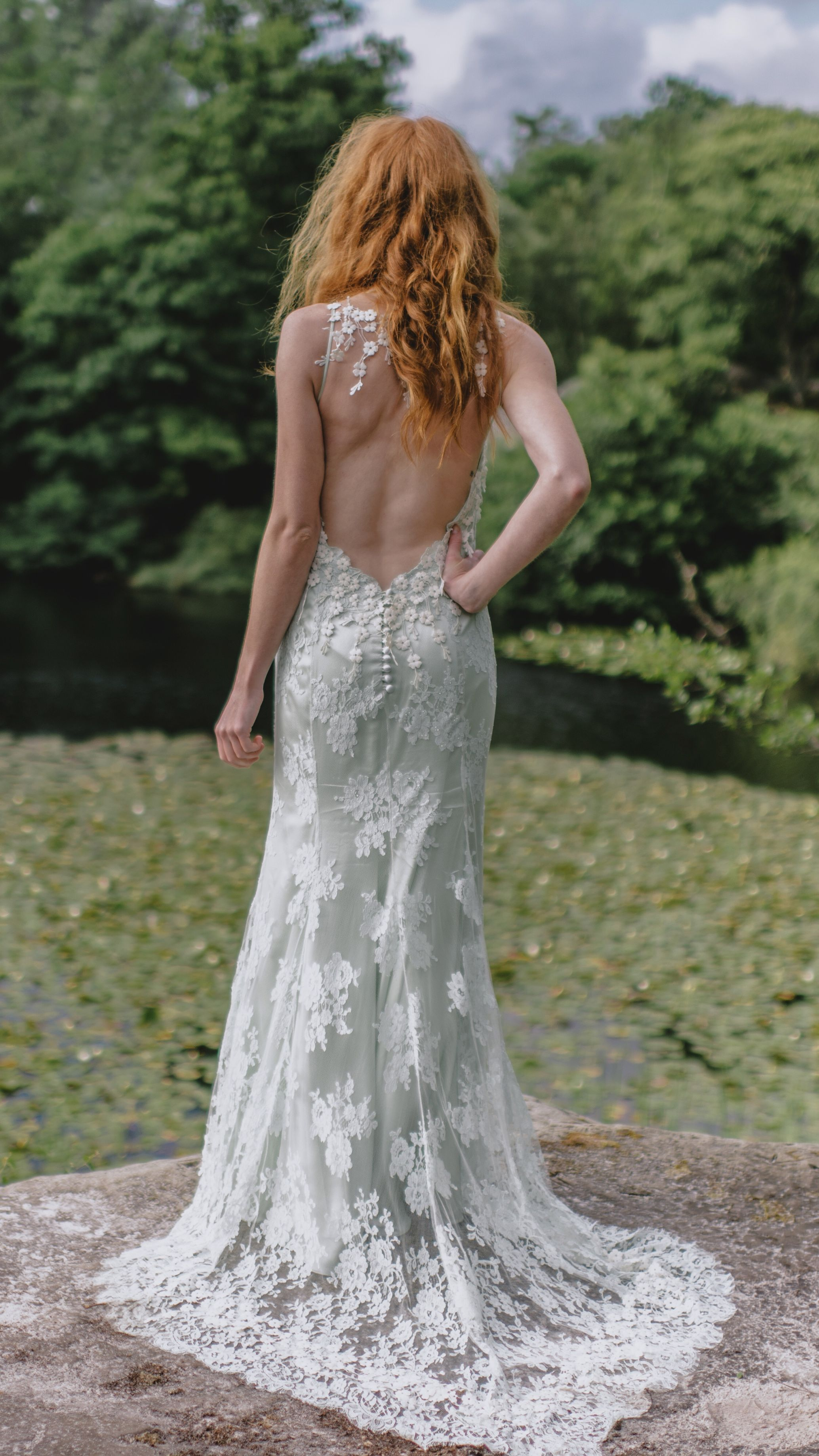 Pale green french lace and silk bohemian wedding dress with low back