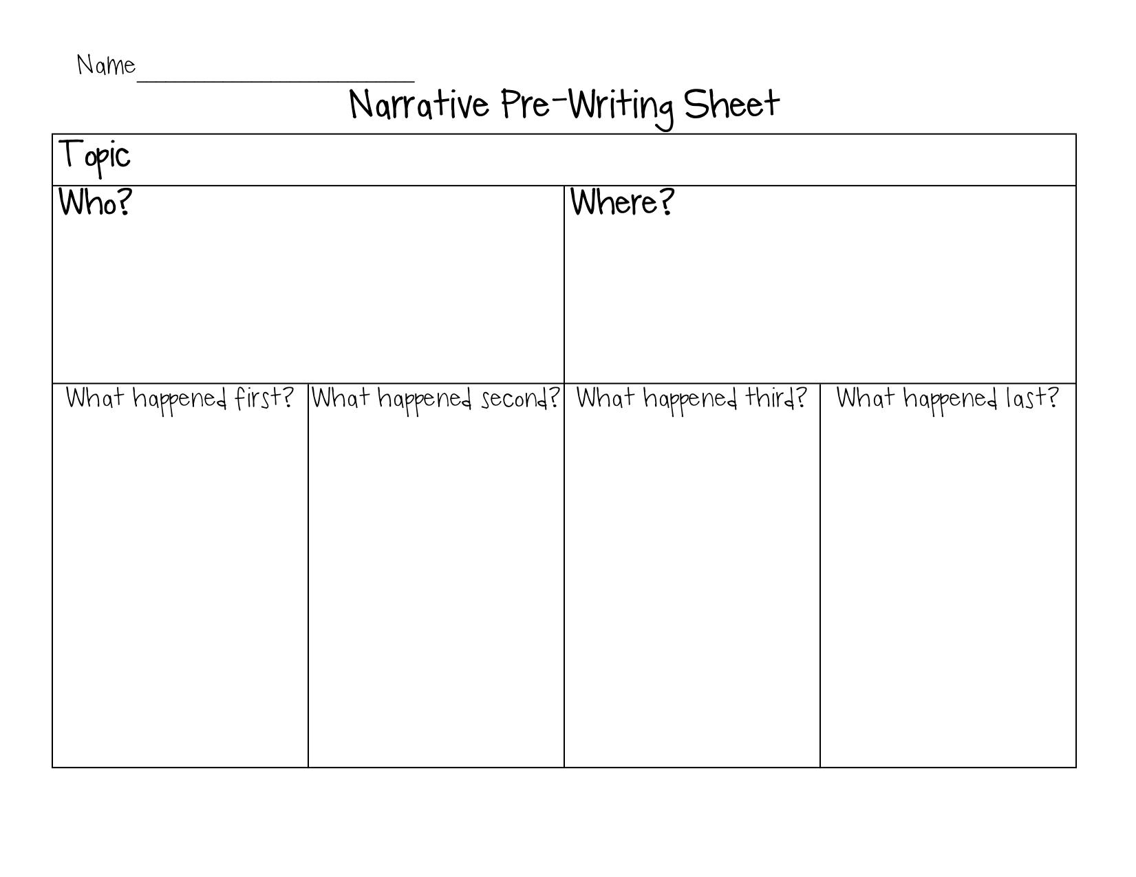 Prewriting Graphic Organizer Narrative 1