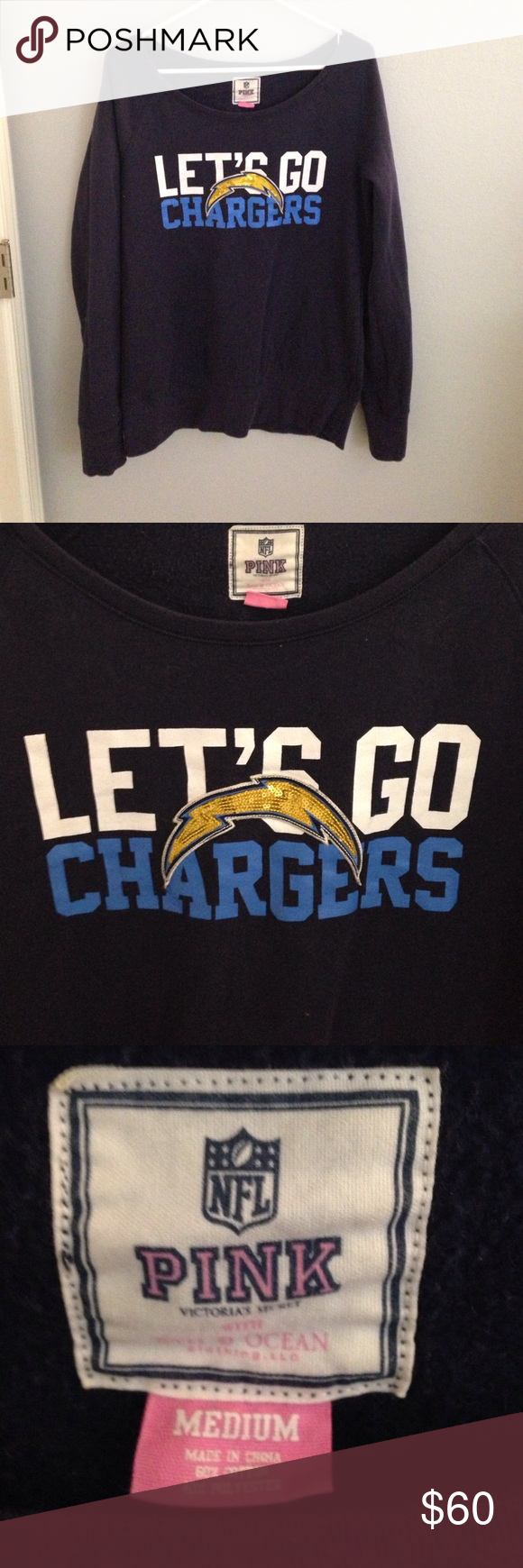 Victoria's Secret Pink NFL San Diego Chargers Adorable sweater ...