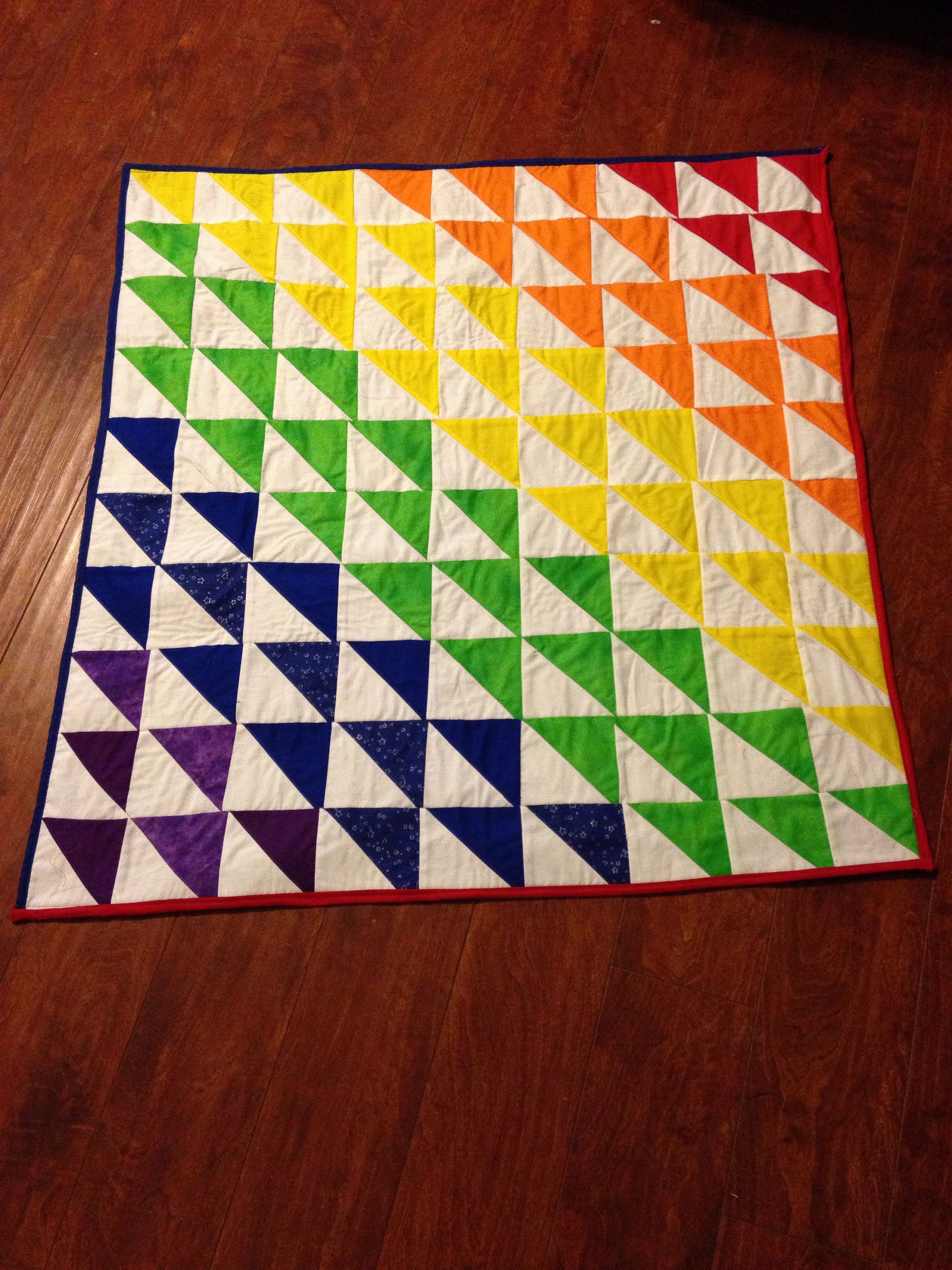 Finished rainbow baby quilt | Baby quilts, Rainbow baby ...