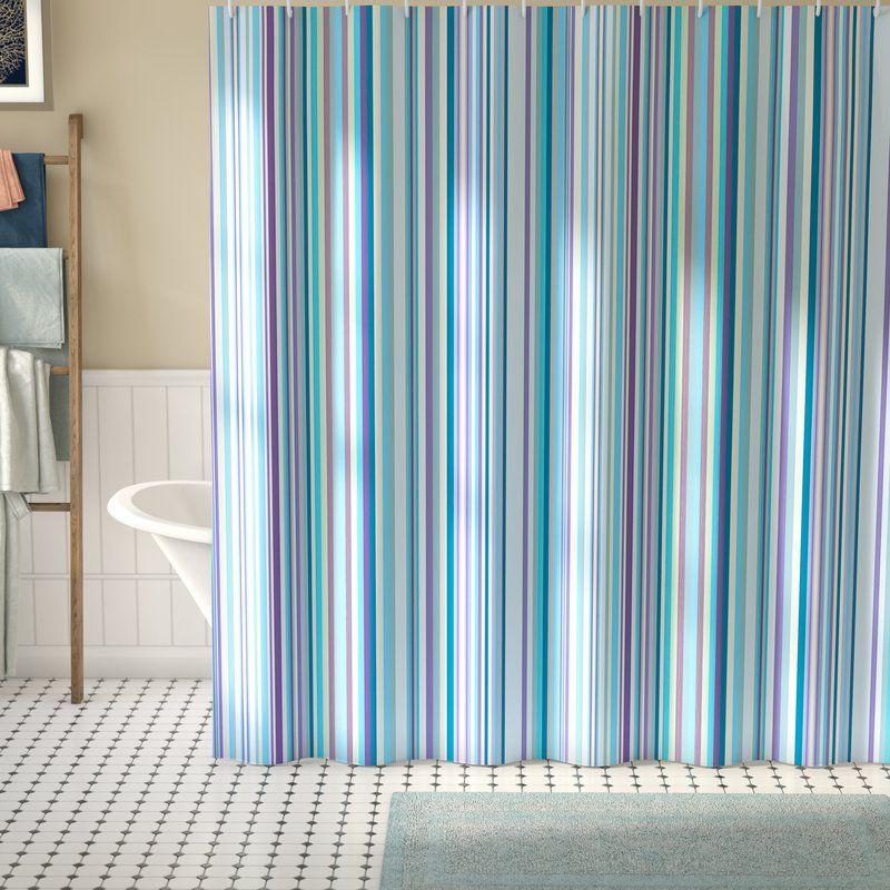 Syreeta Blue Purple Geometric Single Shower Curtain Geometric