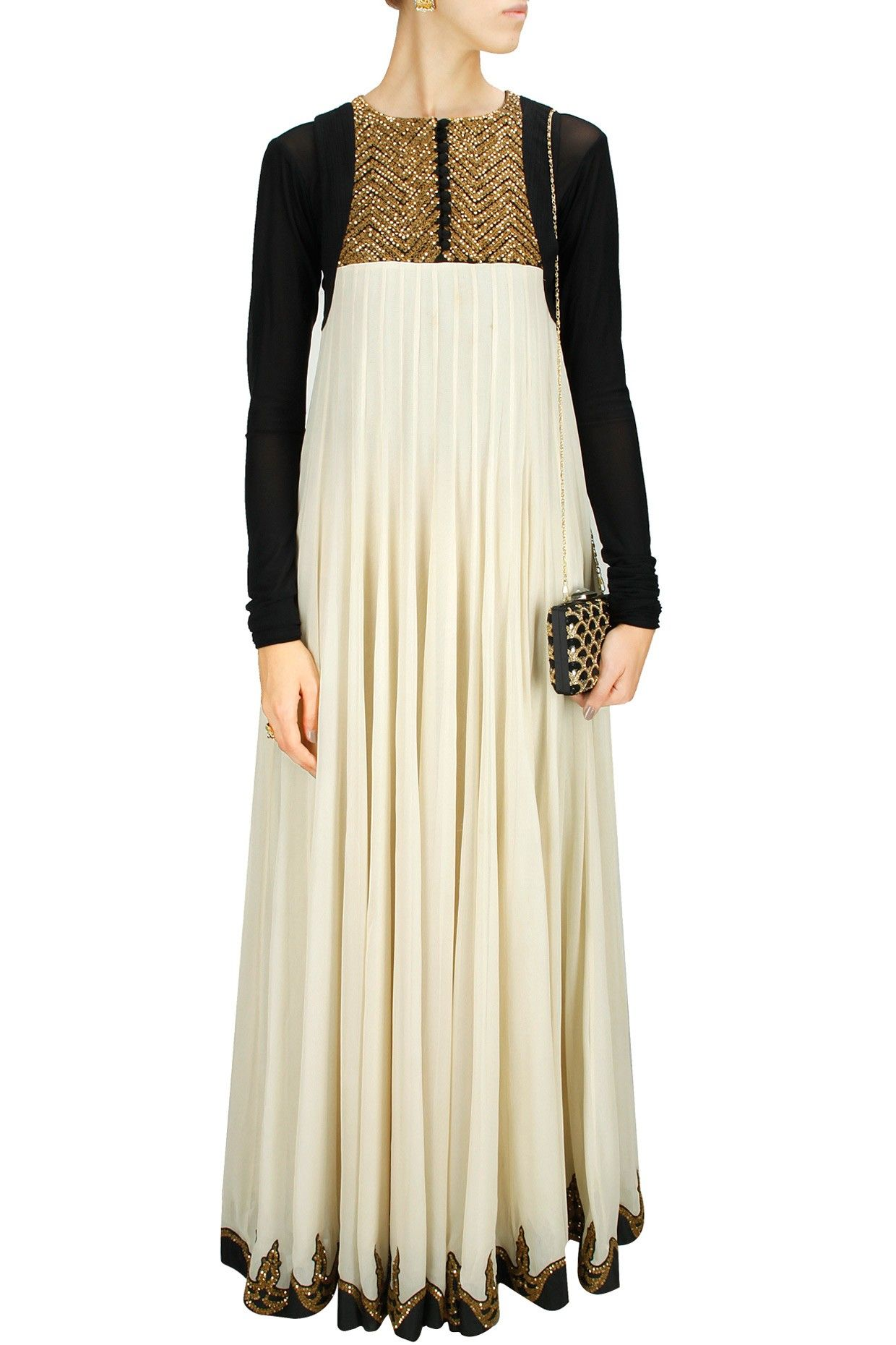 Ivory and black zardosi work long dress available only at perniaus