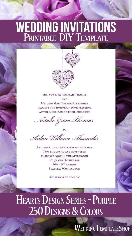 Hearts Wedding Invitation Purple | Wedding and Wedding