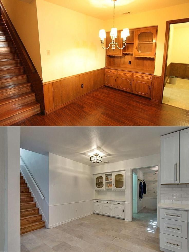 House remodel on a budget! These before and after pictures are amazing and full of DIY ideas. Love this galley kitchen that was opened up! #lowcosthomeremodeling #opengalleykitchen House remodel on a budget! These before and after pictures are amazing and full of DIY ideas. Love this galley kitchen that was opened up! #lowcosthomeremodeling #opengalleykitchen