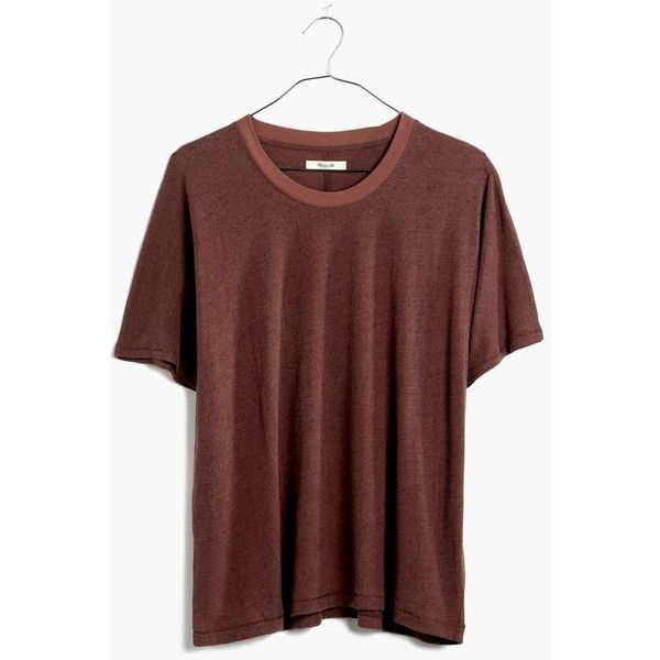 MADEWELL Rivet & Thread Silk-Cotton Noil Tee (60 CAD) ❤ liked on Polyvore featuring tops, t-shirts, burnt soil, red silk top, silk t shirt, cotton tees, drapey tee and red crew neck t shirt