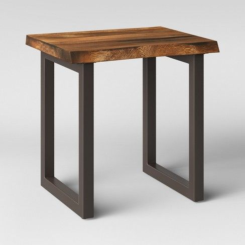 Thorald Wood Top End Table With Metal Legs Brown Project 62