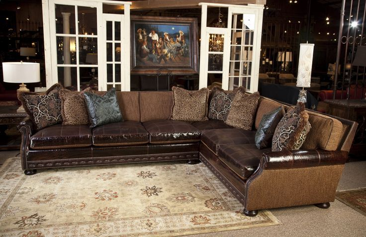 Leather And Fabric Sectional Sofas Google Search Western