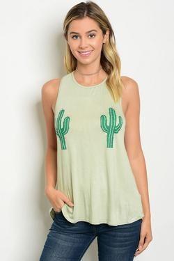 Cactus Print Sleeveless Jersey Graphic Tank Top