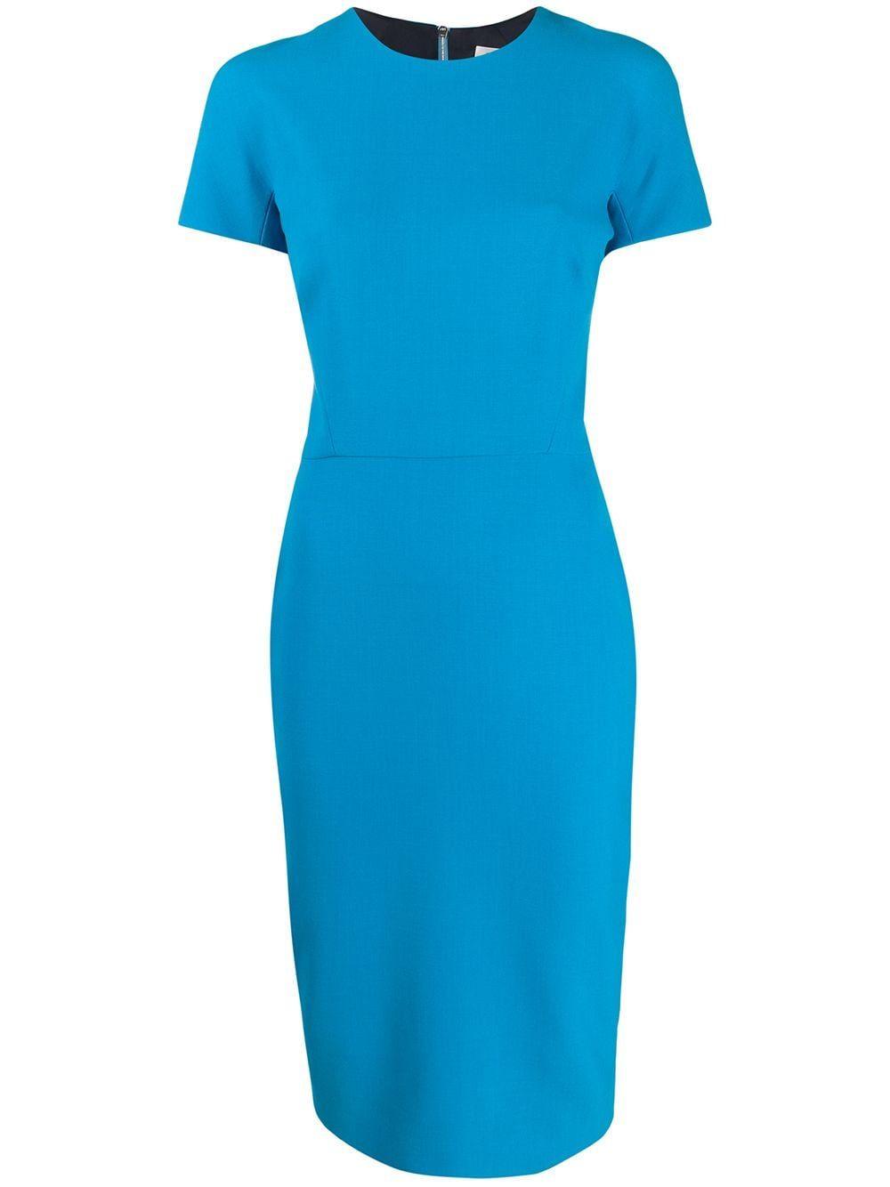 Victoria Beckham Pencil Midi Dress Farfetch Midi Pencil Dress Turquoise Midi Dress Blue Midi Dress [ 1334 x 1000 Pixel ]