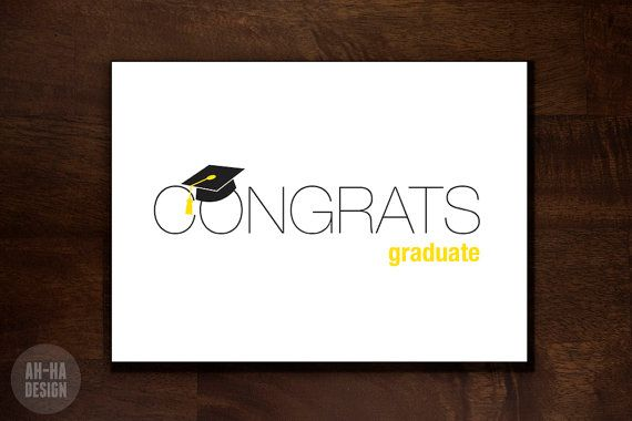 Congrats Graduate Digital Greeting Card by AhHaDesign on Etsy, $4.00