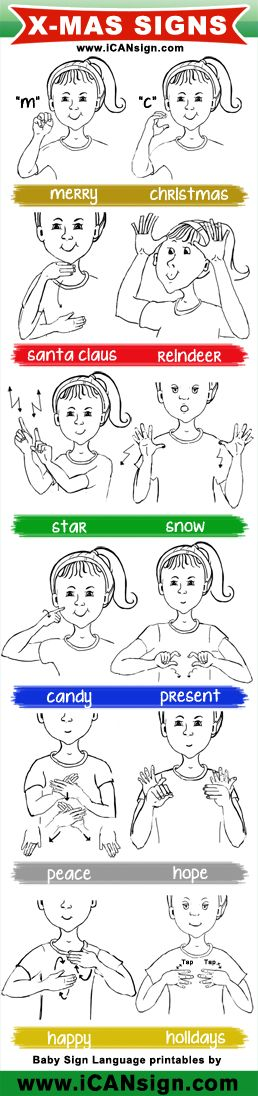 Baby Sign Language - ASL Christmas Signs chart Sign Language for - baby sign language chart template