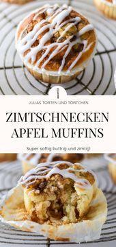 Zimtschnecken Apfel Muffins - Buttrig, zimtig und einfach!