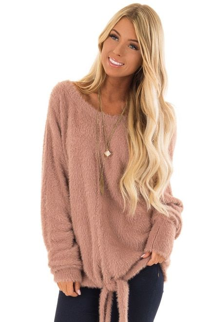 9b51cd66c78331 Mauve Long Sleeve Fuzzy Knit Sweater with Front Tie Detail front close up