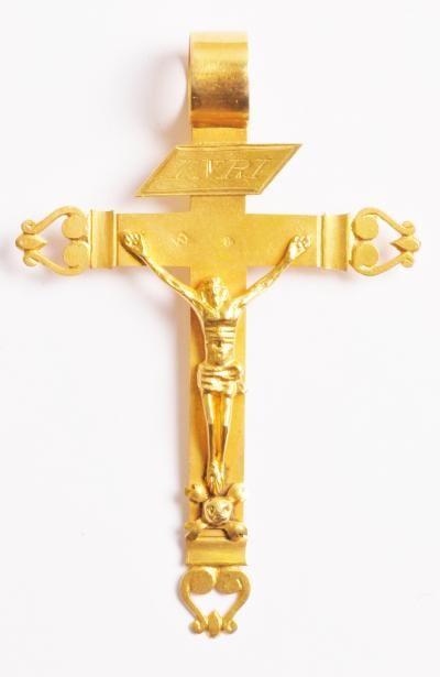 regional cross, worn in  the Champagne region and as far as Lorraine, gold, 73 x 30mm, 8.8g, hallmark illegible