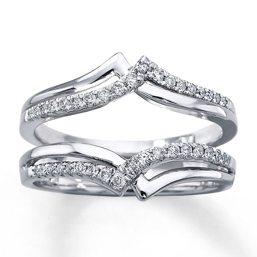 Diamond Enhancer Ring 1 4 Ct Tw Round Cut 14k White Gold: Diamond Enhancer Ring 1/4 Ct Tw Round-cut 14K White