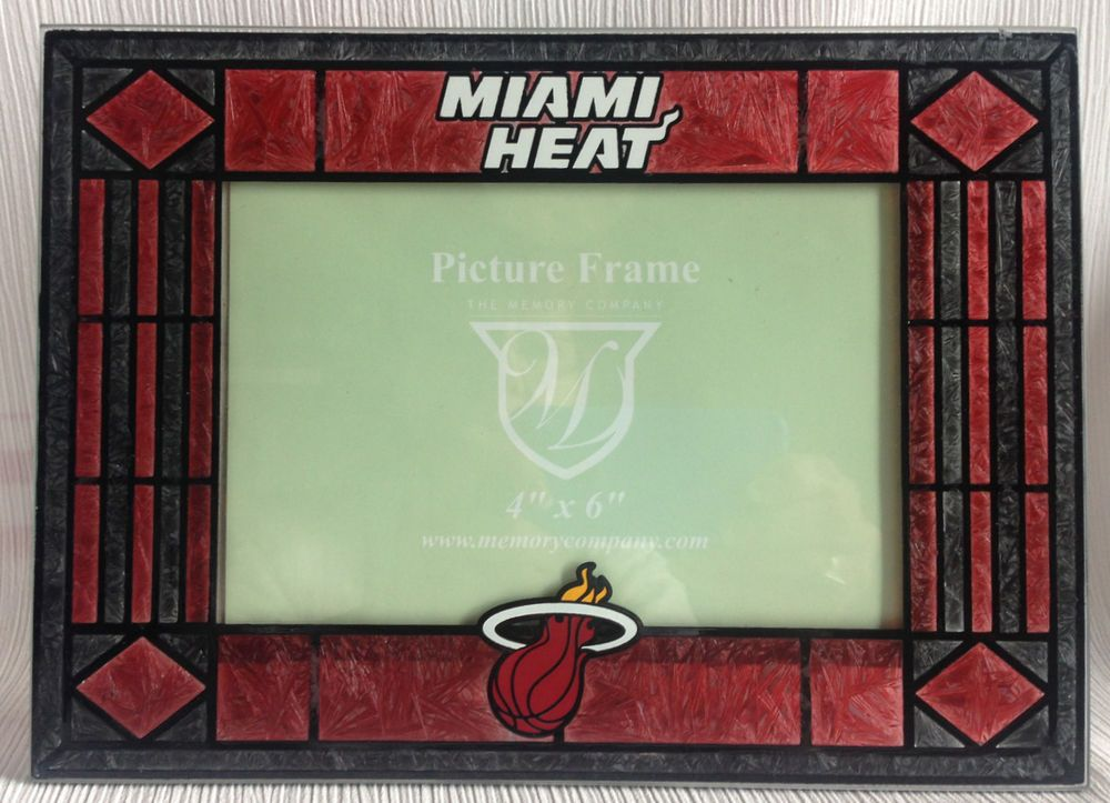 Miami Heat NBA Basketball Art Glass Picture Frame Sports Souvenir 4 ...