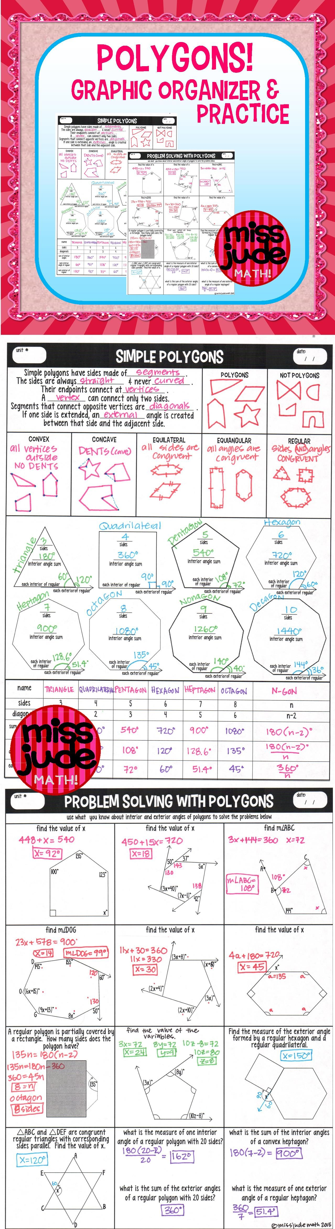 Exterior Math: Polygons Graphic Organizer And Practice