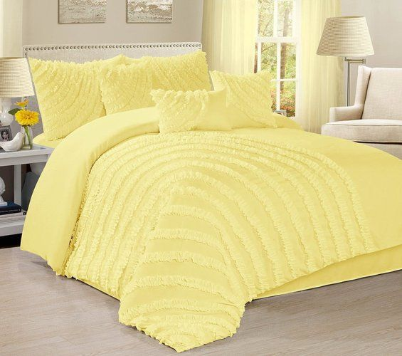 7 Piece Hillary Ruffled Pleated Comforter Set Yellow Comforter Sets Bedding Sets California King Bedding Sets