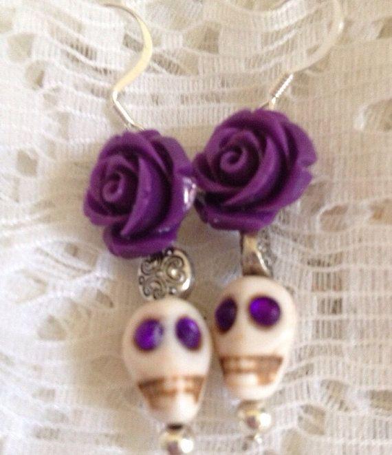 Día de Muertos  Day of the Dead Halloween Skull  earrings purple/white on Etsy, $18.00