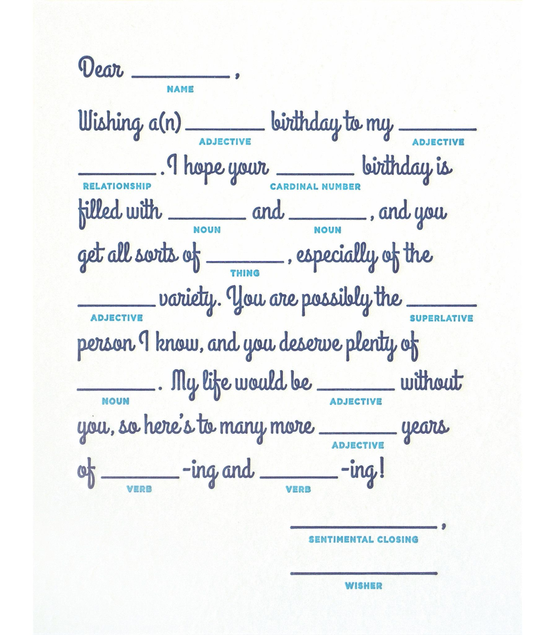 Mad Lib Birthday Handcrafted Card In