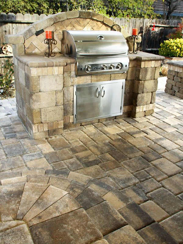 Kitchen Islands Add Beauty Function And Value To The: Custom System Pavers Built-in Barbecue #bbq #grill