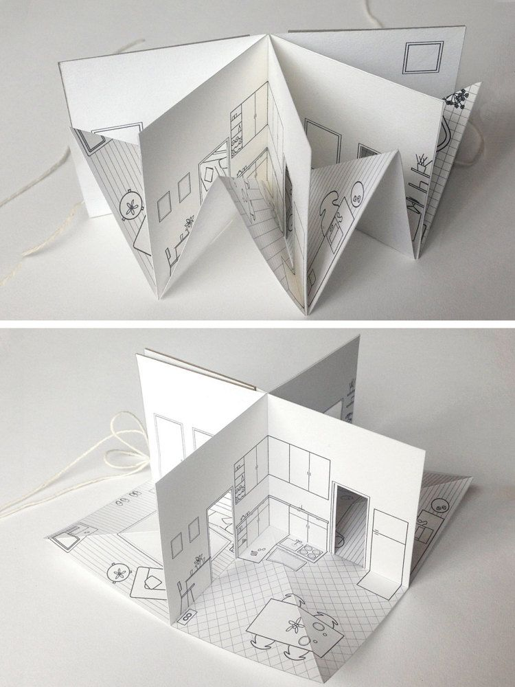 paper house small illustrated pop up book 3 16 scale by pipsawa house paper houses paper. Black Bedroom Furniture Sets. Home Design Ideas