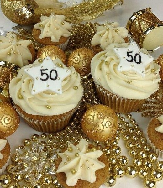 golden wedding cake with cupcakes golden years and creative 50th birthday ideas 14779