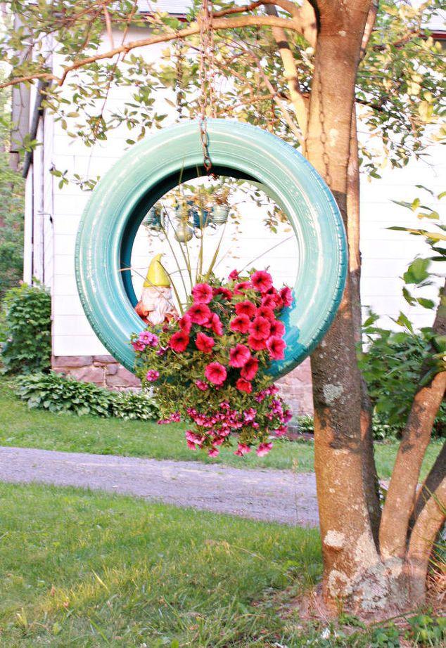 Repurposed Tires as Flower Planters