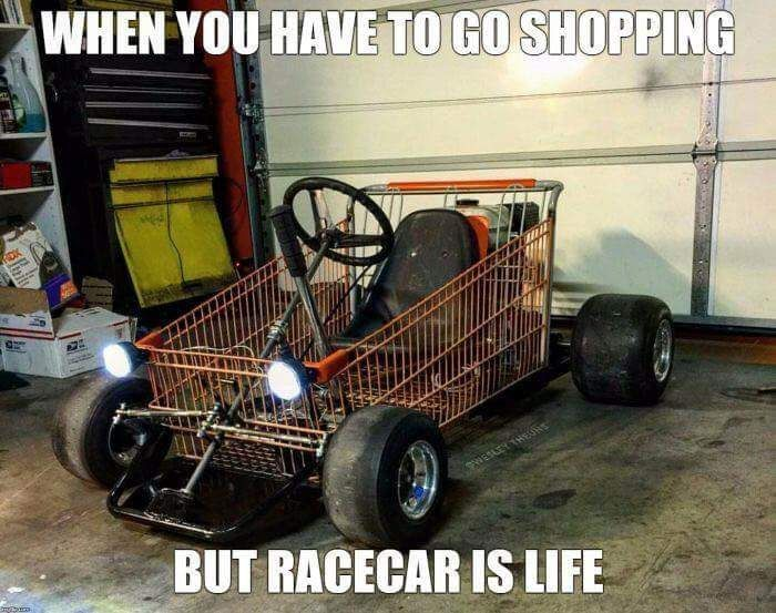When You Have To Go Shopping But Racecars Is Life Gearhead Meme