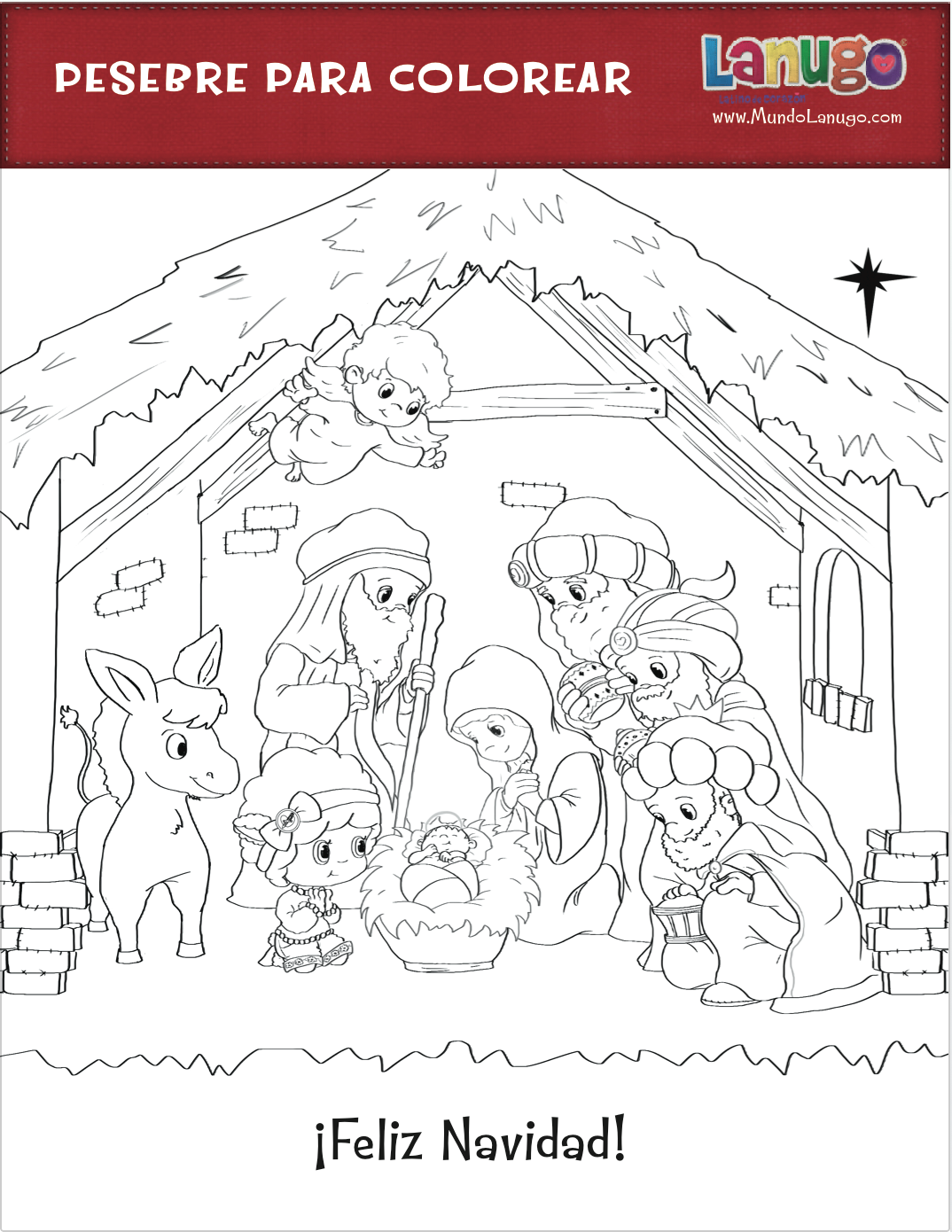 Free printable coloring page of a nativity scene for Christmas and ...