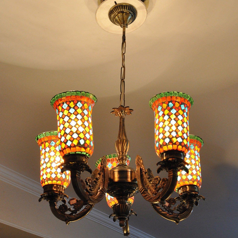 Vintage Glass Chandelier 5 Light Multicolor Ceiling Pendant Lamp House Party Decoration Hanging Lighti Pendant Ceiling Lamp Mosaic Lamp House Party Decorations